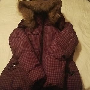 Coach winter coat duck down raccoon fur trim